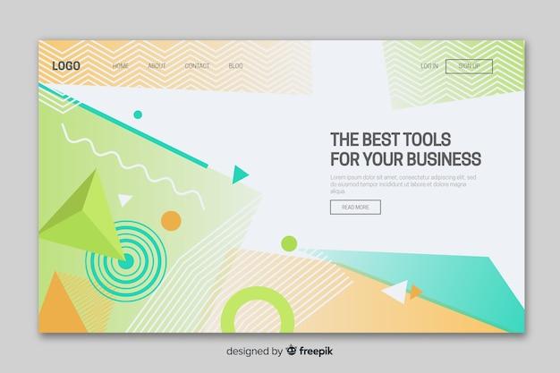 Página de destino de negócios de formas geométricas Vetor grátis