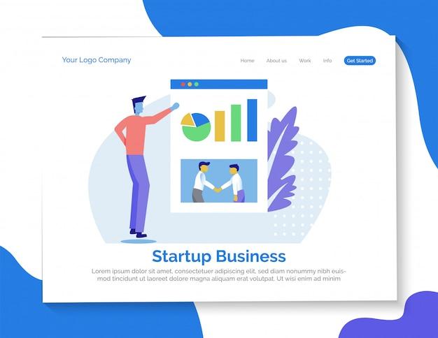 Página de destino de negócios de inicialização Vetor Premium