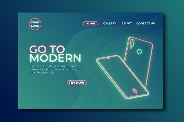 Página de destino de néon com smartphone Vetor grátis
