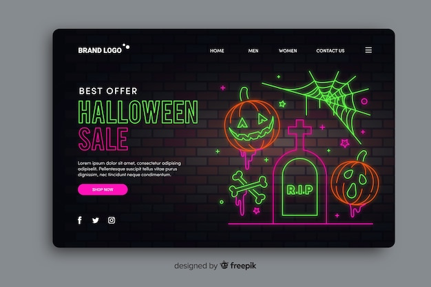 Página de destino de néon de venda de halloween Vetor grátis
