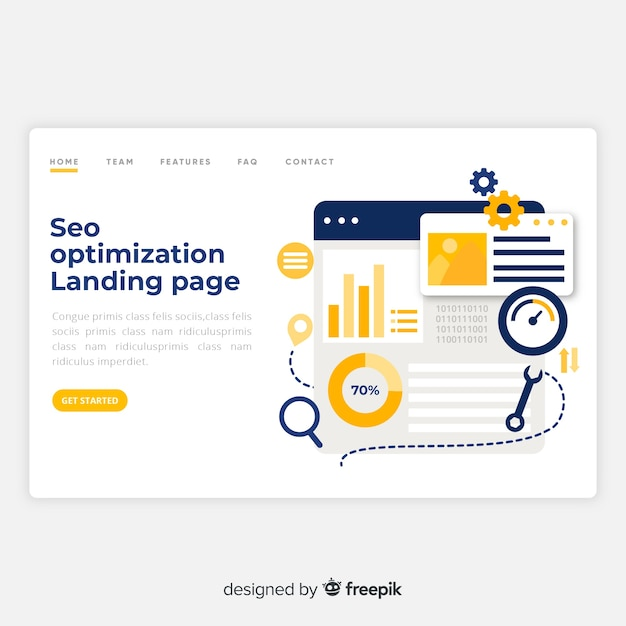 Página de destino de otimização de seo Vetor Premium
