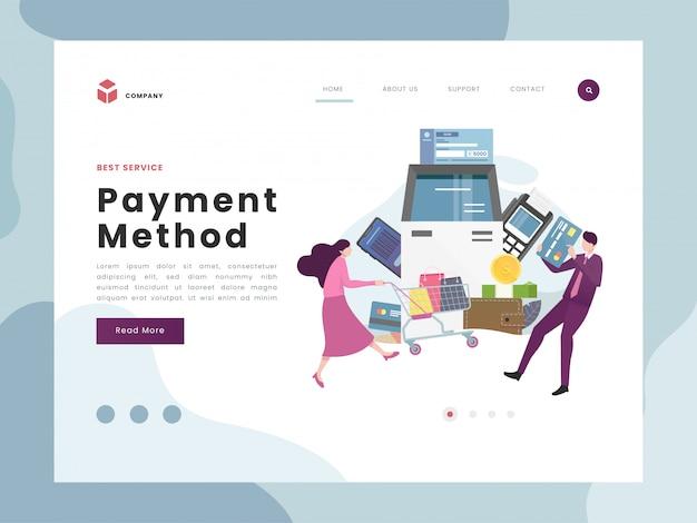 Página de destino de pagamento Vetor Premium