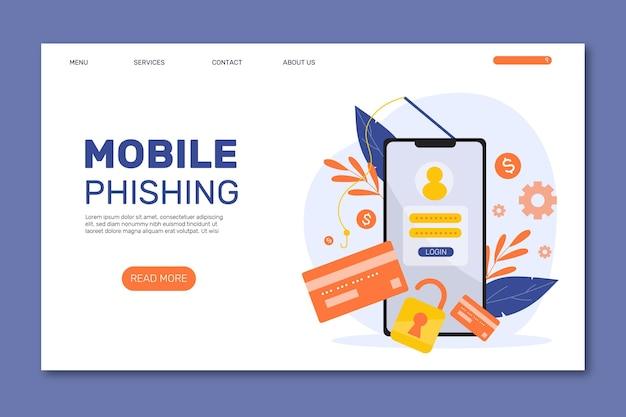 Página de destino de phishing para celular Vetor grátis