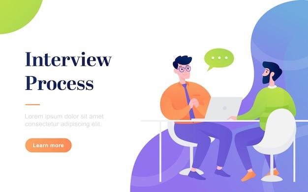 Página de destino de processo de entrevista plana moderna Vetor Premium