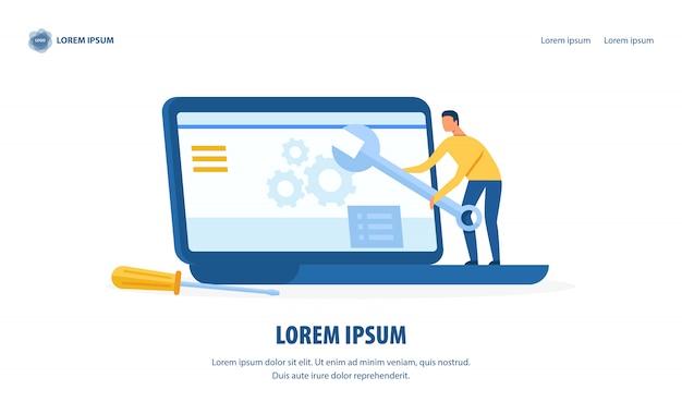 Página de destino de projeto de serviço e reparo de computador Vetor Premium