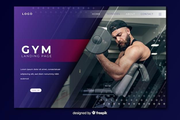 Página de destino de promoção de academia com imagem Vetor grátis