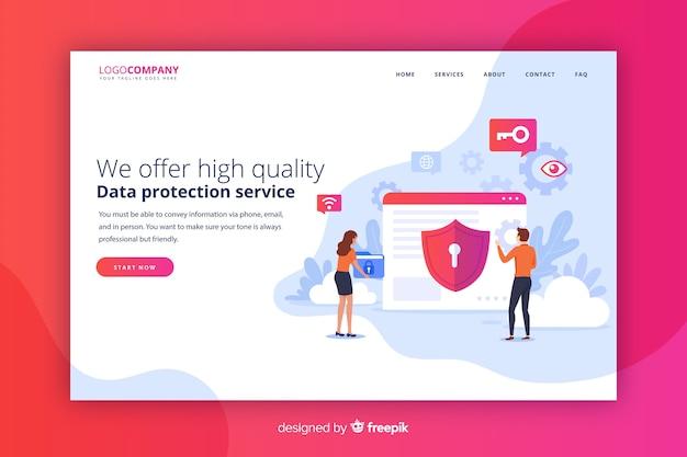 Página de destino de proteção de dados Vetor grátis