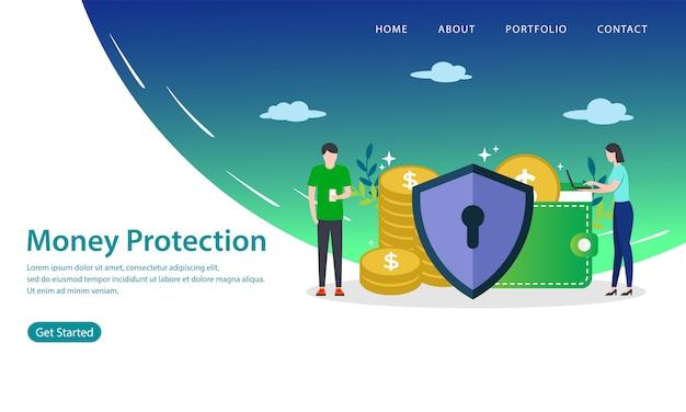 Página de destino de proteção de dinheiro Vetor Premium