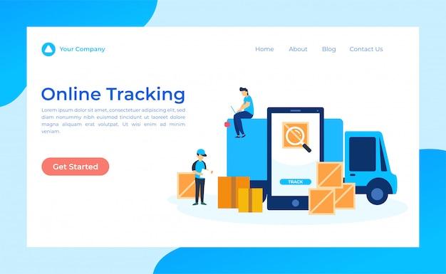 Página de destino de rastreamento on-line Vetor Premium