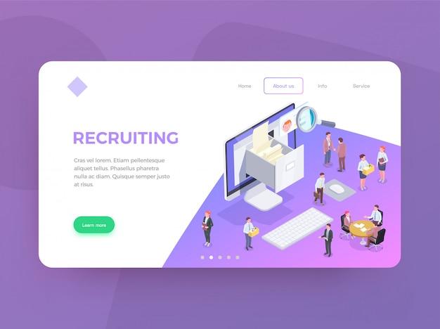 Página de destino de recrutamento isométrica web design plano de fundo com imagens conceituais texto editável links e botões de ilustração Vetor grátis