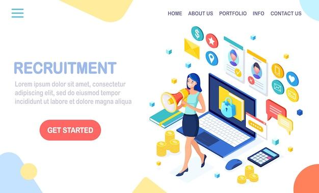 Página de destino de recrutamento Vetor Premium