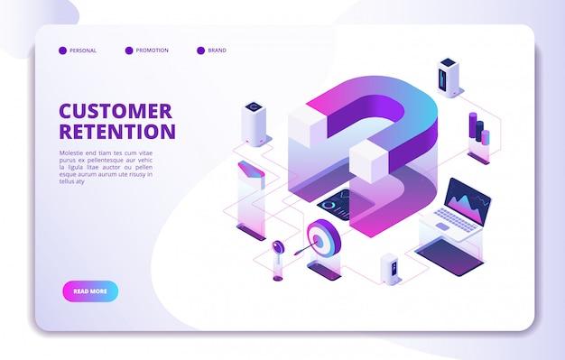 Página de destino de retenção de clientes Vetor Premium