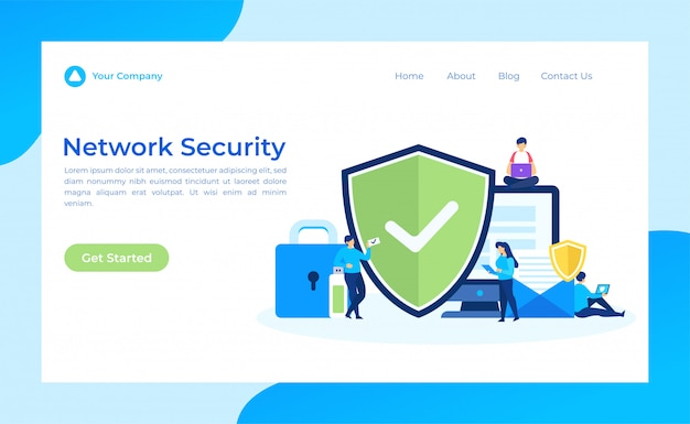 Página de destino de segurança de rede Vetor Premium