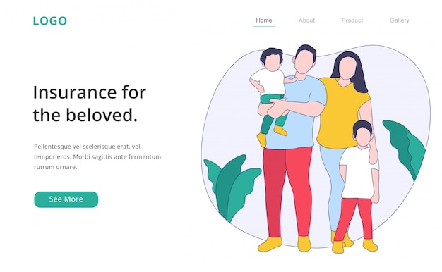 Página de destino de seguro familiar de design plano moderno Vetor Premium