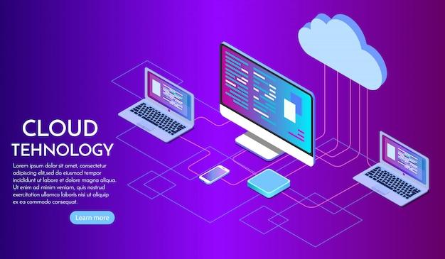 Página de destino de serviços de computação em nuvem isométrica Vetor Premium