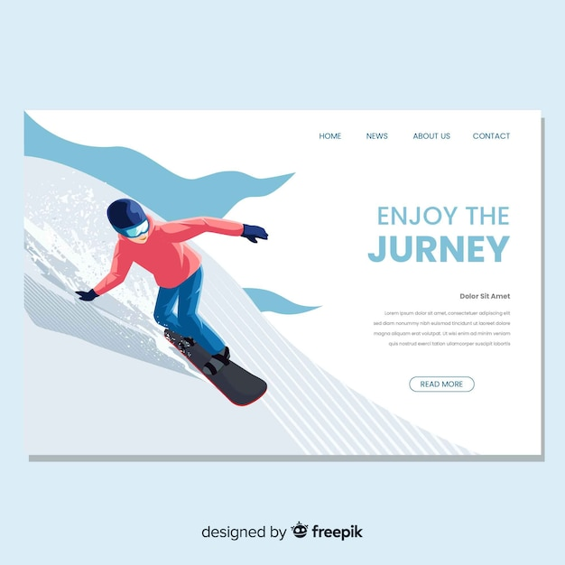 Página de destino de snowboard em design plano Vetor grátis