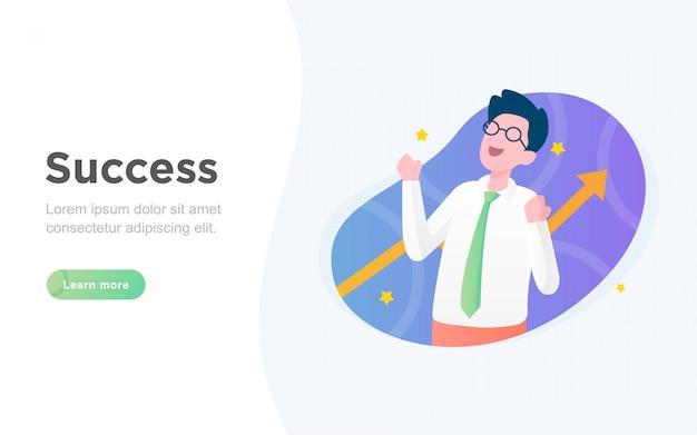 Página de destino de sucesso de negócios plana moderna Vetor Premium