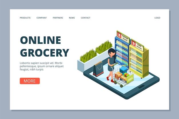 Página de destino de supermercado online. mulher isométrica com carrinho de compras, conceito de mercearia online, loja e loja online Vetor Premium
