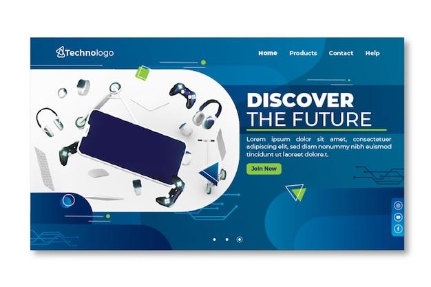 Página de destino de tecnologia móvel Vetor Premium