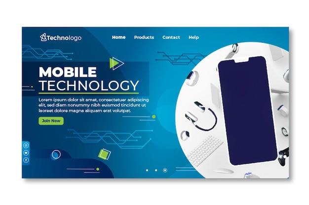 Página de destino de tecnologia móvel Vetor grátis
