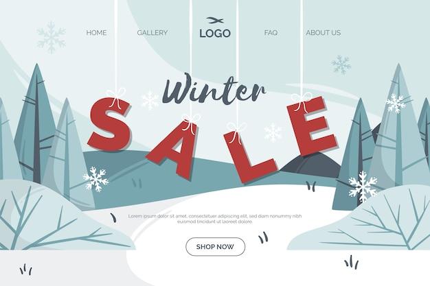 Página de destino de venda de inverno de design plano Vetor grátis