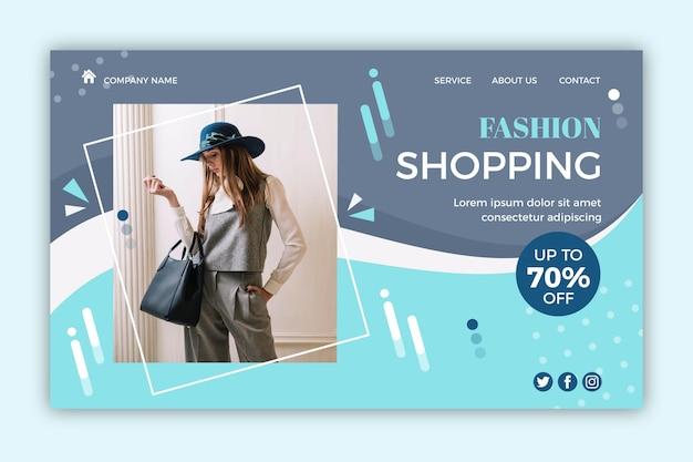 Página de destino de venda de moda com foto Vetor Premium