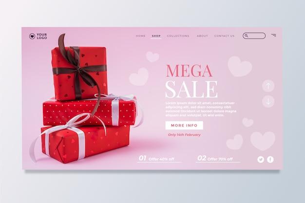 Página de destino de venda para dia dos namorados Vetor grátis
