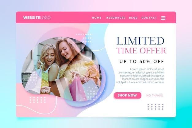 Página de destino de vendas abstrata com imagem Vetor grátis