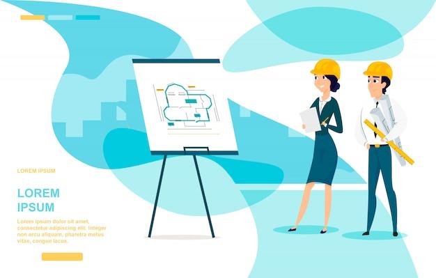 Página de destino de vetor de desenhos animados do arquiteto planejamento Vetor Premium