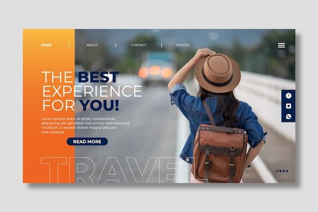 Página de destino de viagem com foto Vetor grátis