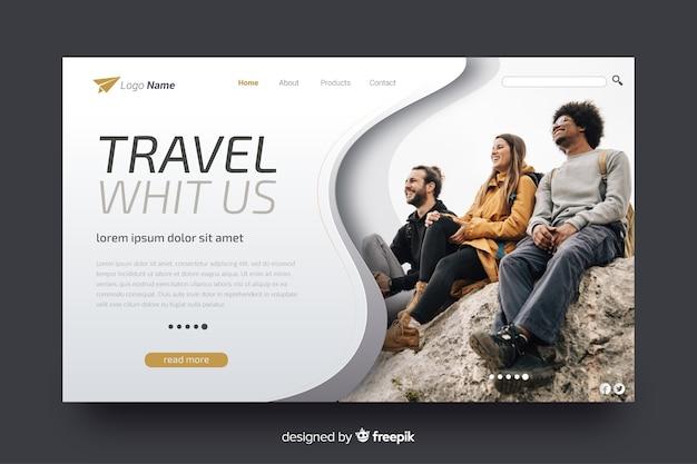 Página de destino de viagem com imagem Vetor grátis