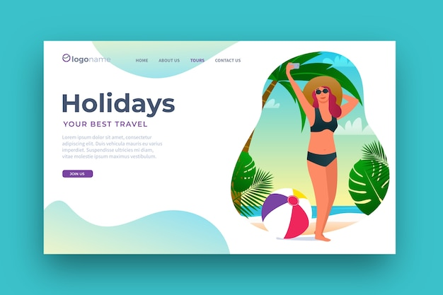 Página de destino de viagens de design plano Vetor grátis