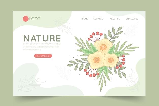 Página de destino desenhada de mão com flores Vetor grátis