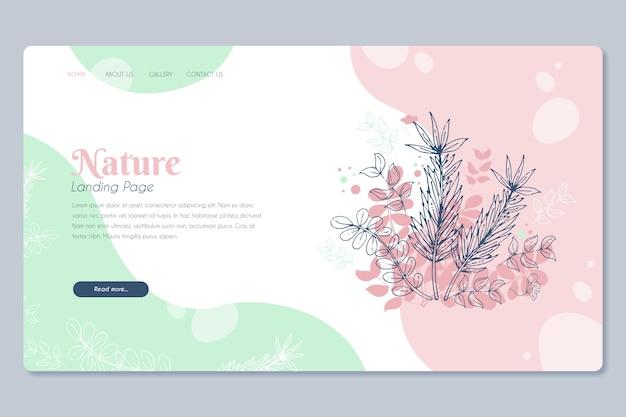 Página de destino desenhada de mão modelo natureza Vetor grátis