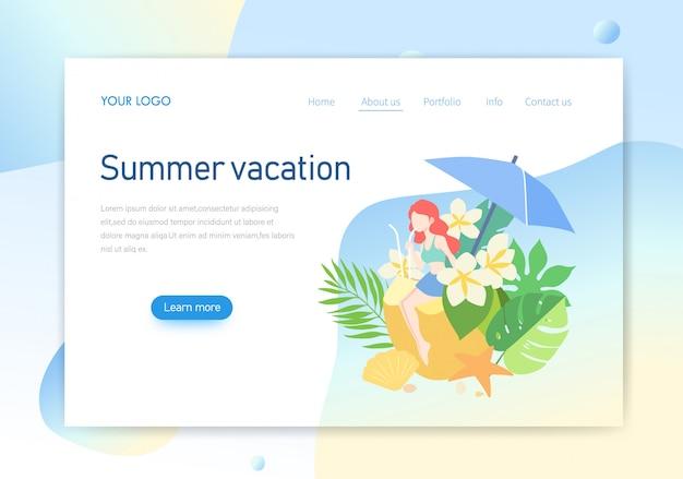 Página de destino, design de ilustração de página de férias de verão Vetor Premium
