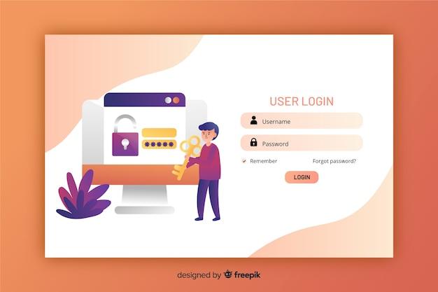 Página de destino design plano com login Vetor grátis