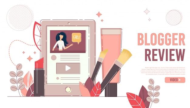 Página de destino do canal on-line de revisão do blogger Vetor Premium
