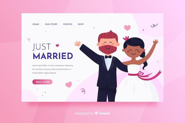 Página de destino do casamento colorido Vetor grátis