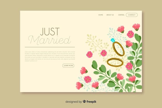 Página de destino do casamento floral Vetor grátis