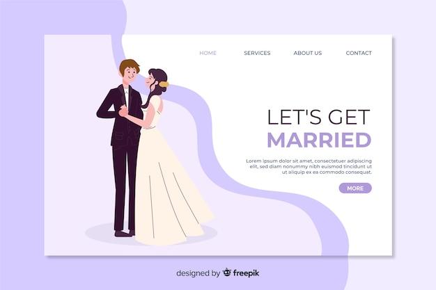 Página de destino do casamento lindo Vetor grátis
