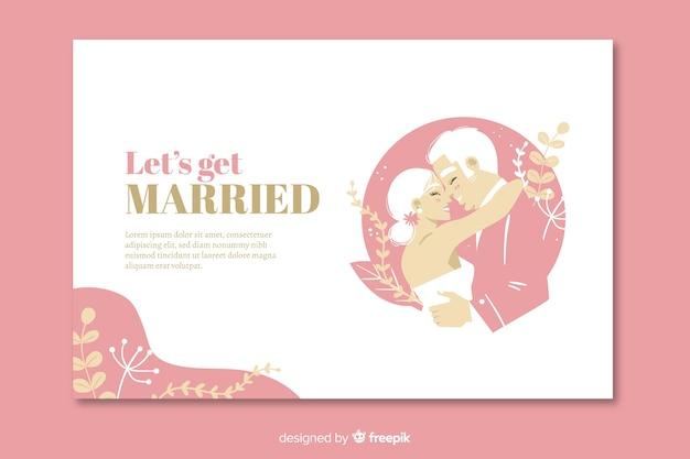 Página de destino do casamento rosa Vetor grátis