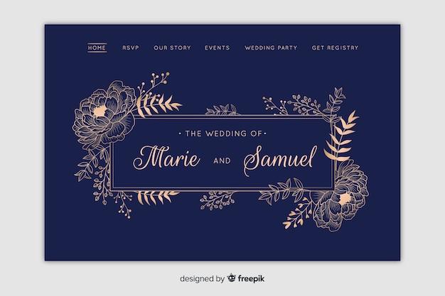 Página de destino do casamento Vetor grátis