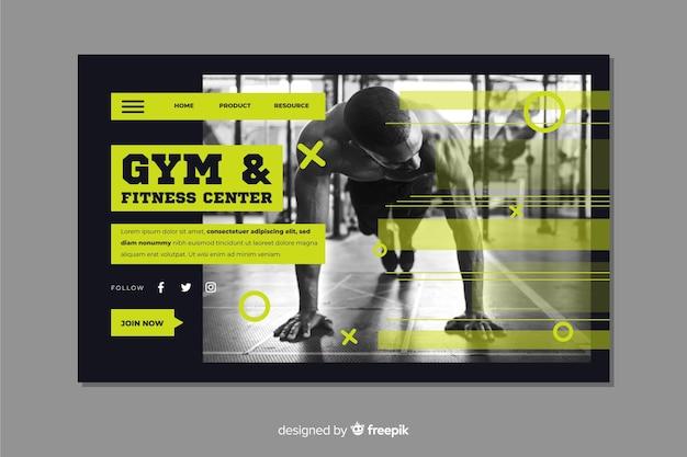 Página de destino do centro de fitness e academia Vetor grátis