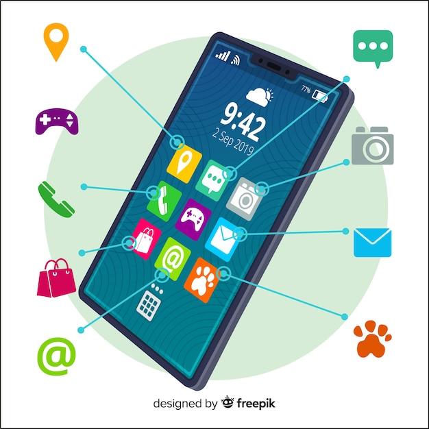 Página de destino do conceito de aplicativos para dispositivos móveis Vetor grátis