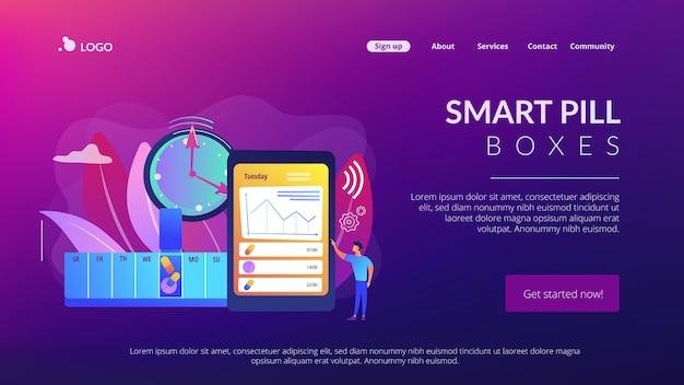 Página de destino do conceito de caixas de comprimidos inteligentes Vetor Premium