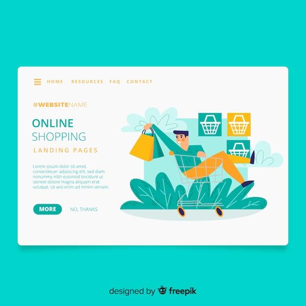 Página de destino do conceito de compras online Vetor grátis