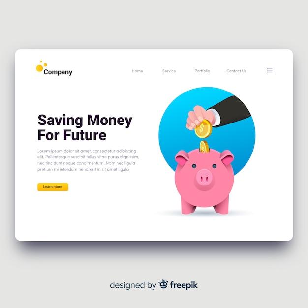 Página de destino do conceito de dinheiro Vetor grátis