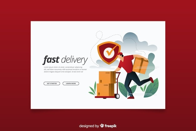 Página de destino do conceito de entrega rápida Vetor grátis