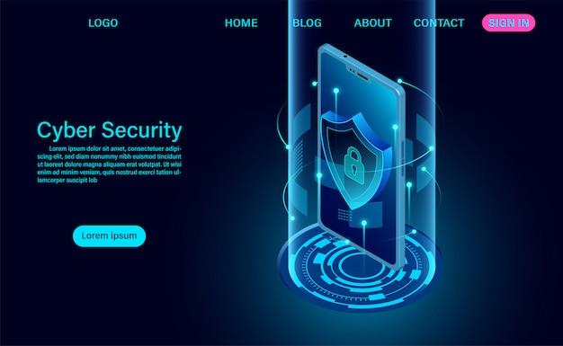 Página de destino do conceito de segurança cibernética Vetor Premium