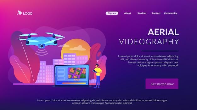 Página de destino do conceito de videografia aérea Vetor Premium